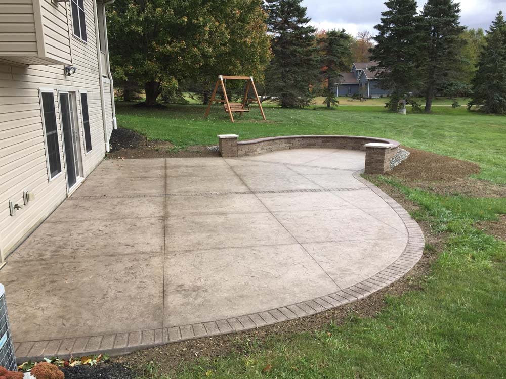 backyard concrete patio ideas stained