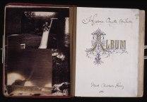 Historia Occulta (Secret History) artists book using found materaials, original photographic prints, damaged prints and handwriting