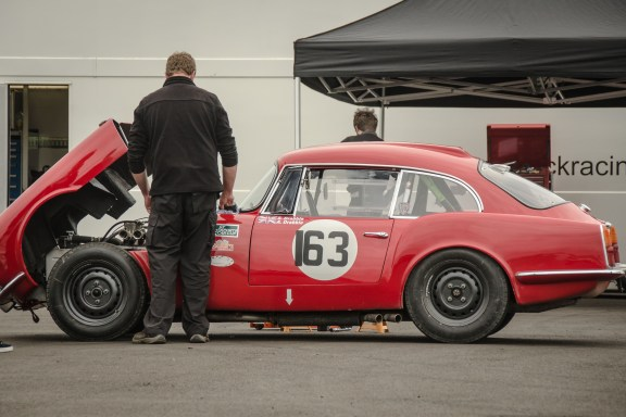 Working on a Reliant Sabre Six in Thruxton Paddocks