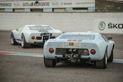 Ford GT40's Entering Thruxton Circuit