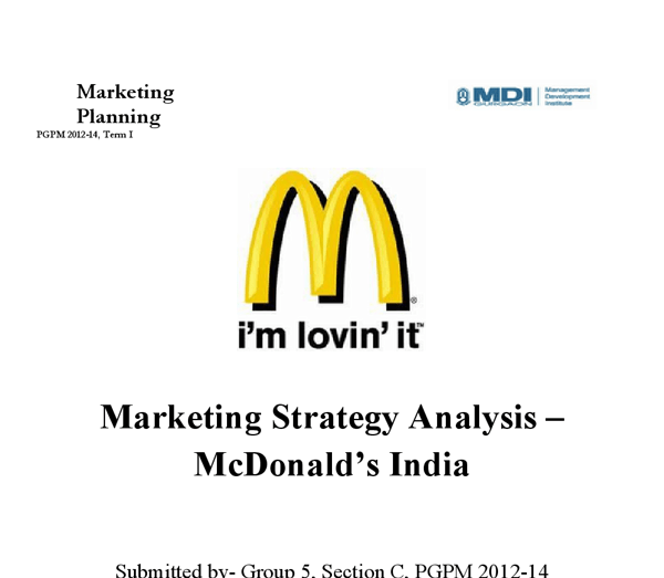 Mcdonalds India. Porters Five Forces Model and Consumer