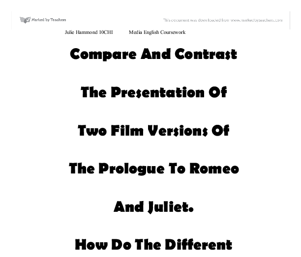 Comparison and contrasting two versions of Romeo and