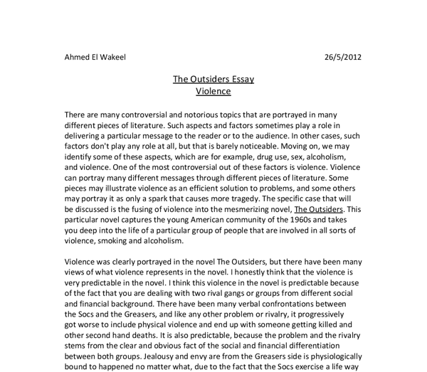 Outsiders Essay Questions