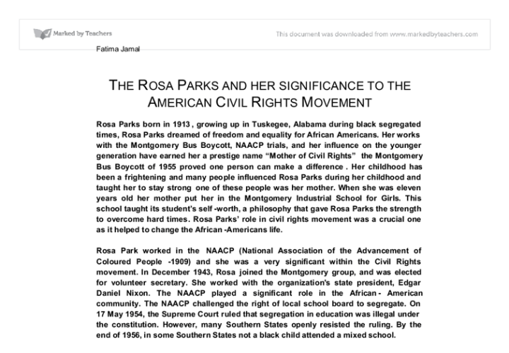 rosa parks significance essay Brief biography of rosa parks in civil rights movement: desegregation.