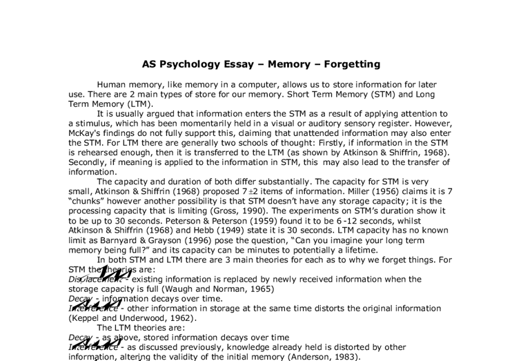 Essay Psychology Psychology Essays Co As Psychology Essay Memory