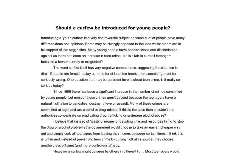 Essay On Curfew Should A Curfew Be Introduced For Young People A