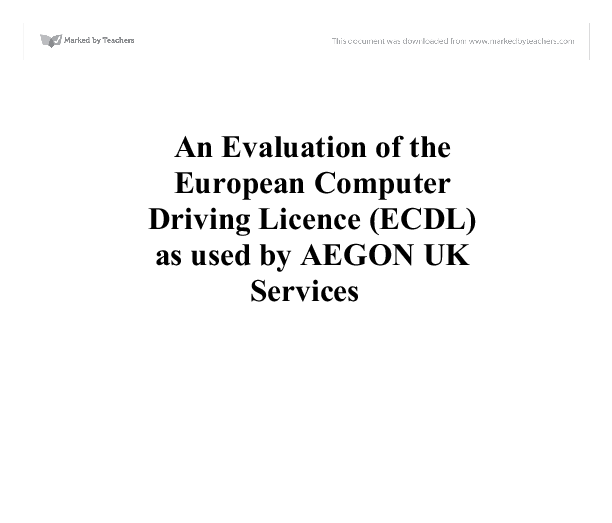 An Evaluation of the European Computer Driving Licence