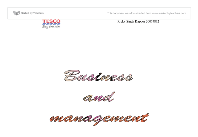 The main jobs for Tesco's manager is Present new ideas for