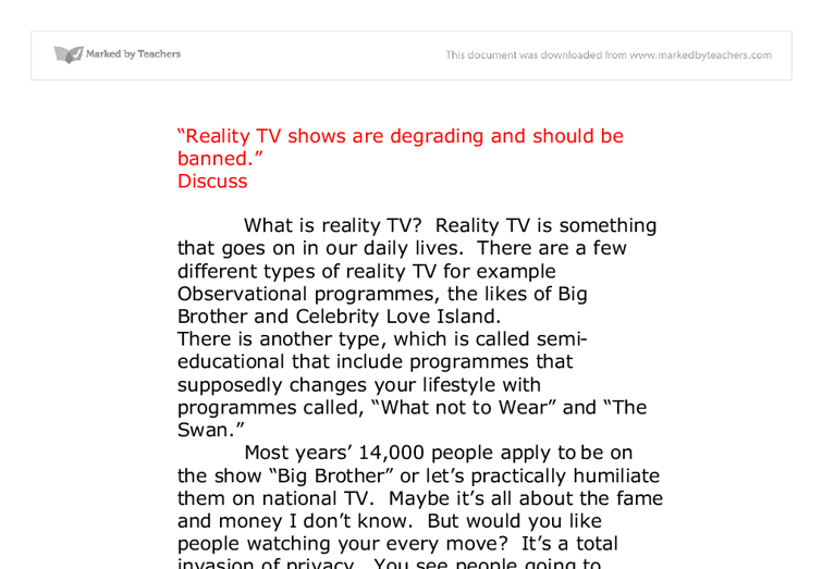 argumentative essay about reality tv shows
