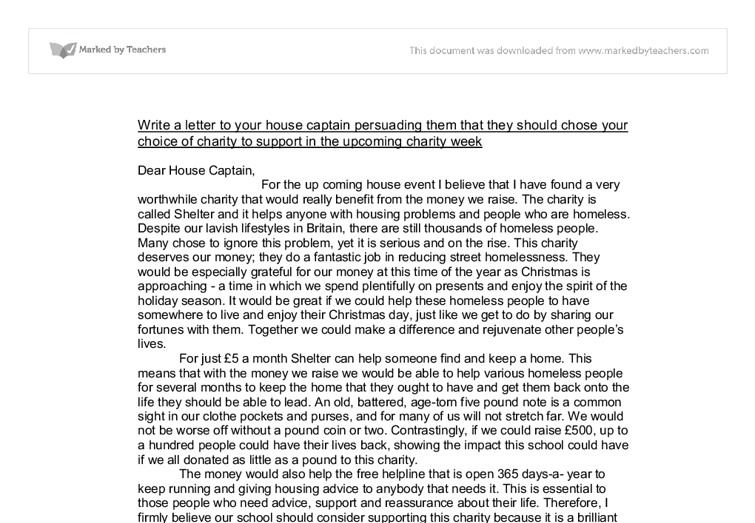 Write A Letter To Your House Captain Persuading Them That They