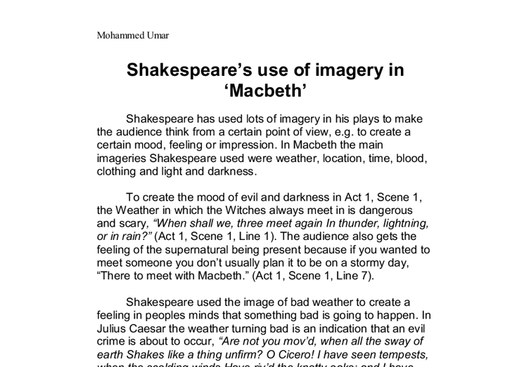 Macbeth Imagery Essay Macbeth Sample Essay Evil And Violence