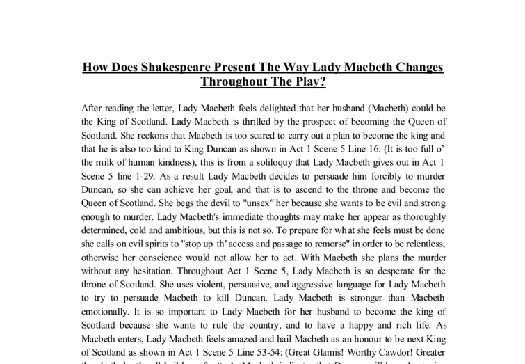 How Does Shakespeare Present The Way Lady Macbeth Changes Throughout The Play - GCSE English - Marked by Teachers.com