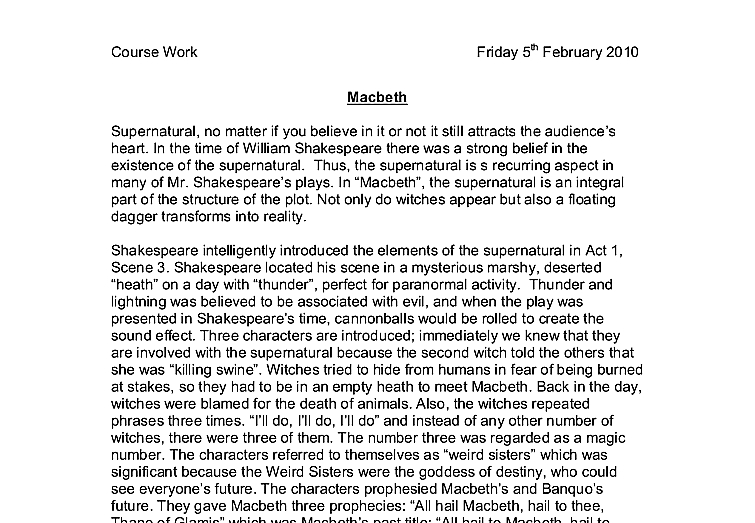 dagger quote macbeth guilt essays about love picture the supernatural in macbethgcse englishmarked by teachers com document image preview