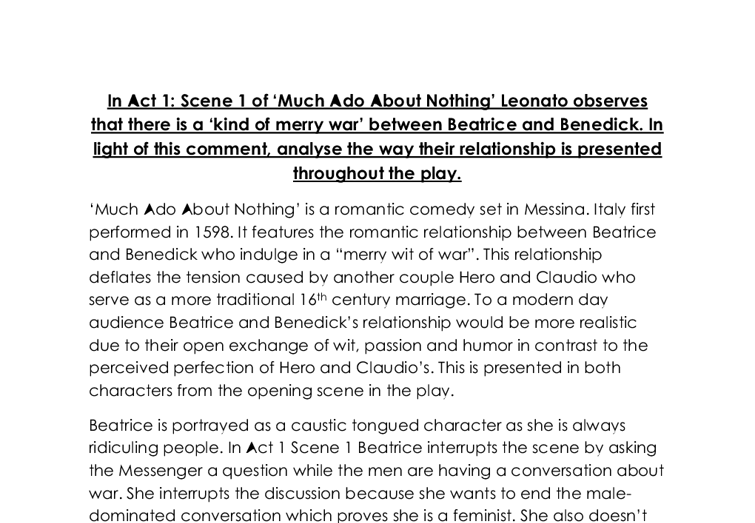 Much Ado About Nothing – Benedick and Beatrice Essay