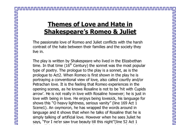 Romeo And Juliet Theme Essay  Mistyhamel Essay Of Romeo And Juliet Creativecard Co