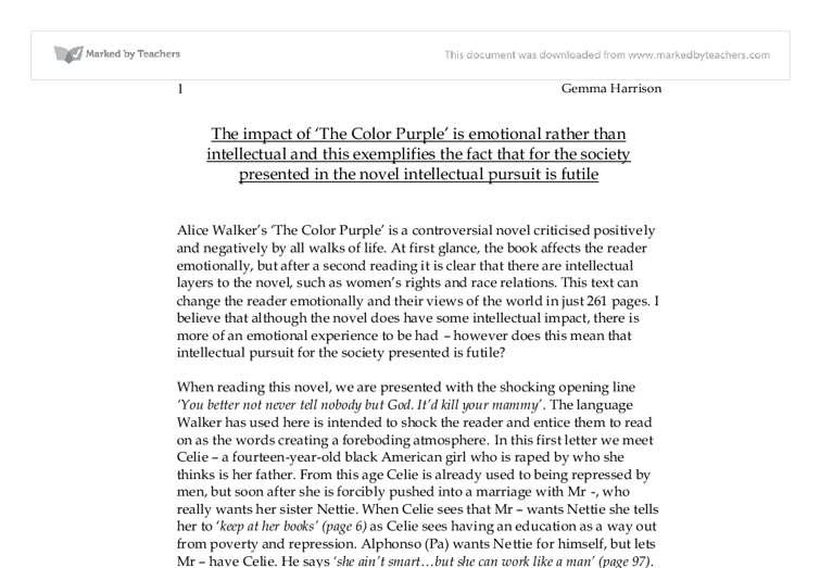 Essays On The Color Purple The Impact Of The Color Purple Is