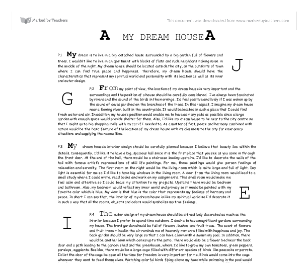 dream house essay ideas my dream house gcse english marked by teachers com