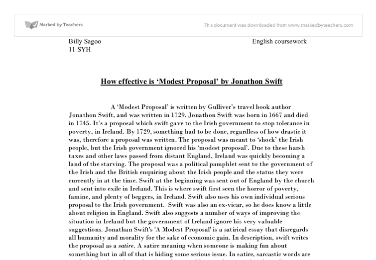 modest proposal essay examples