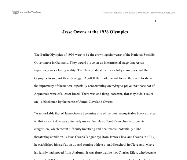 Essay On Ideology Jesse Owens At The Olympics Gcse History Marked By