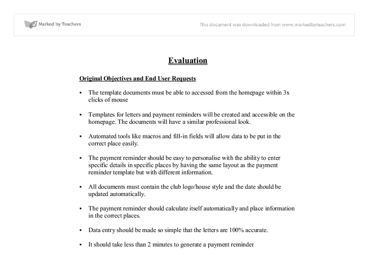 GCSE IT Evaluation of word processing template documents for the ...
