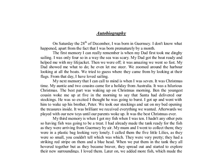 Autobiographical Essay Examples Hospi Noiseworks Co