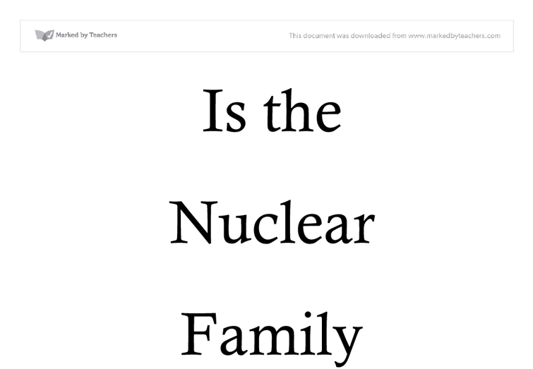 Nuclear family and extended family essay