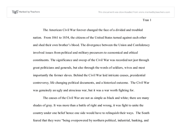 Essay On Civil War U S Civil War Essay International Baccalaureate