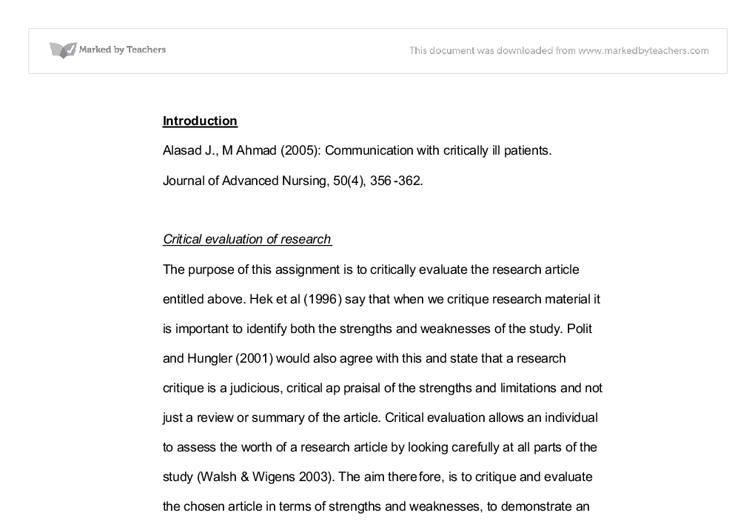 Critical Evaluation Of Nursing Research University Subjects Allied
