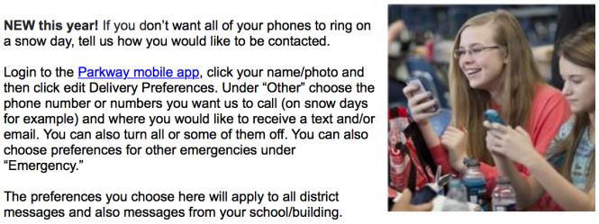 school notification options