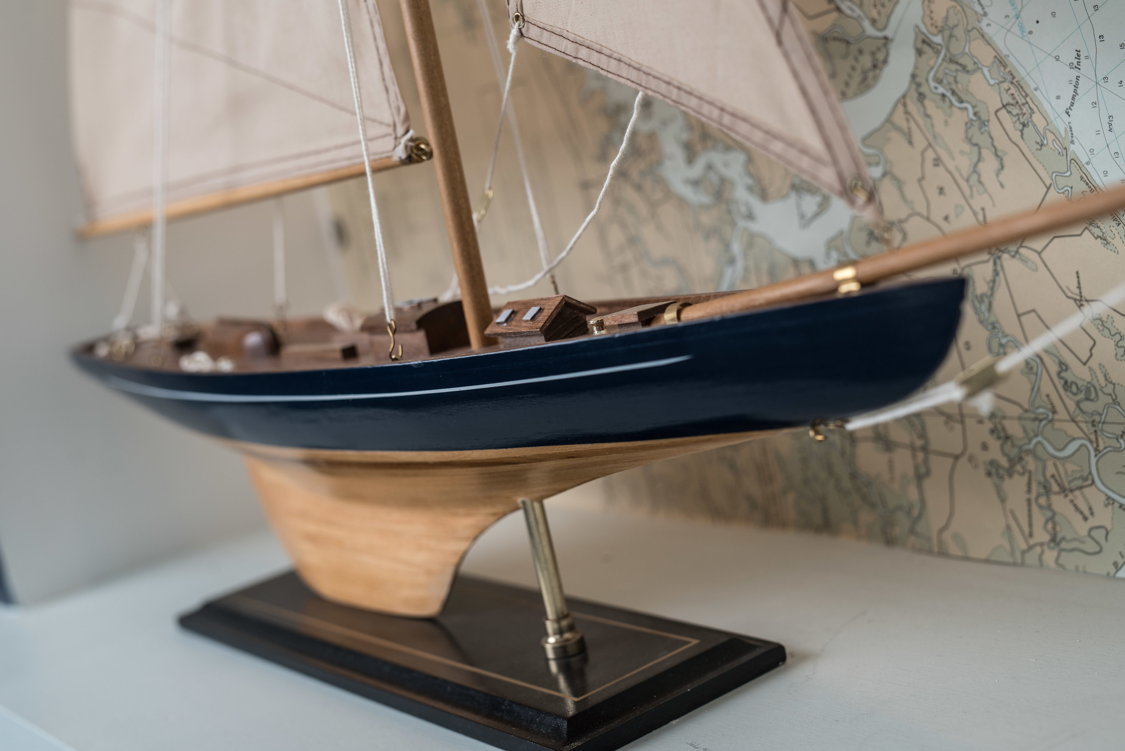 model ship, hotel decor