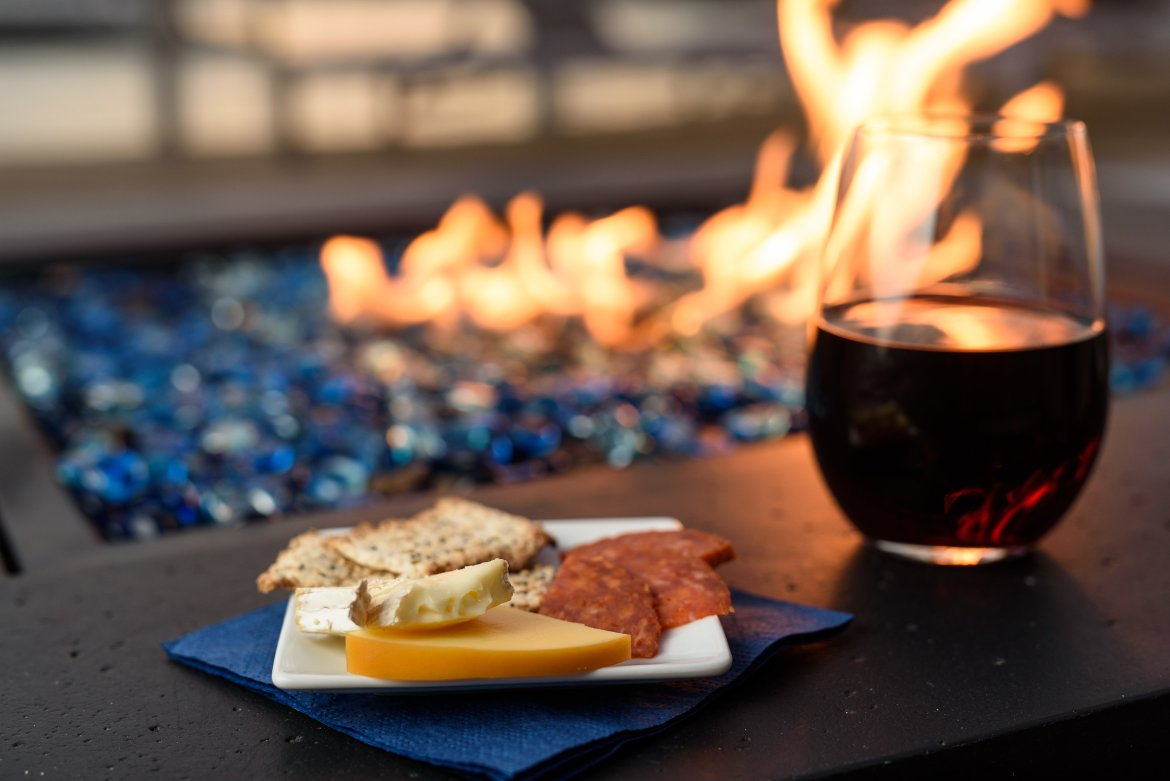 hors d'oeuvres & Wine by the fire pit
