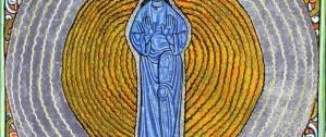 Dessin : La vision de la Sainte Trinité de Sainte Hildegarde de Bingen (Scivias, IIe livre, 2e vision) (détail : tiers médian)