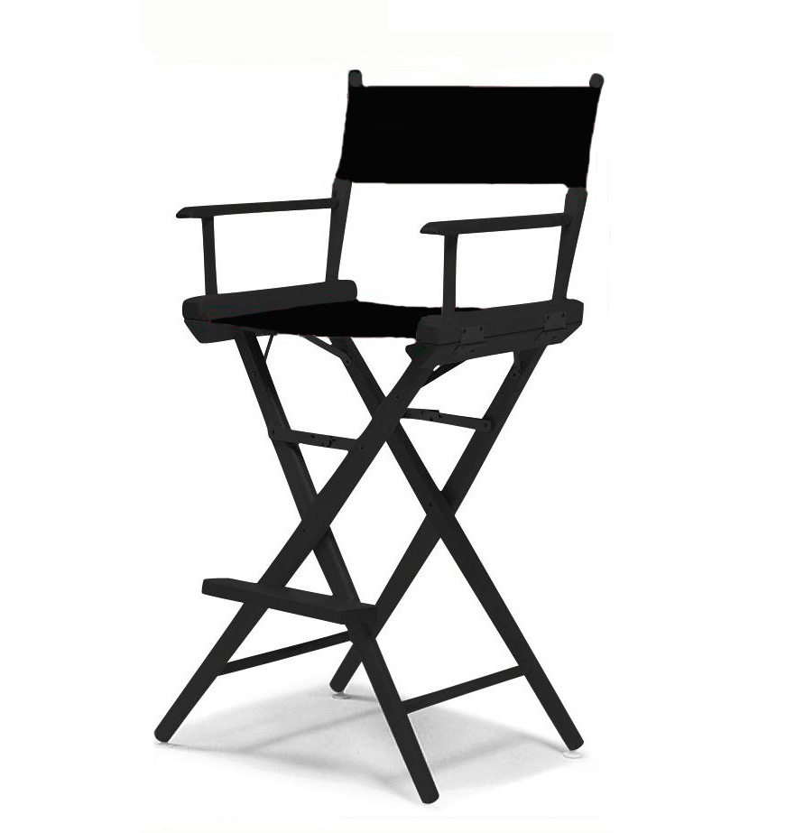 Tall Directors Chair  Black Frame  Black Canvas