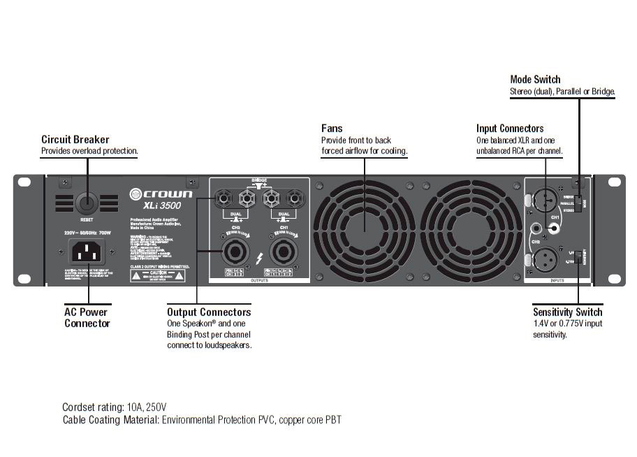 Crown XLi800 XLiSeries 600W 2 Channel Power Amplifier
