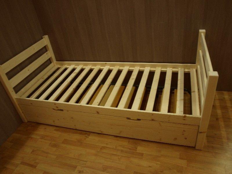 Market del Legno Letto singolo Vittorio in legno di abete grezzo materasso di cm80x190