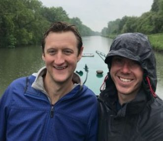 Nick Drew and Pete Glass on narrow boat
