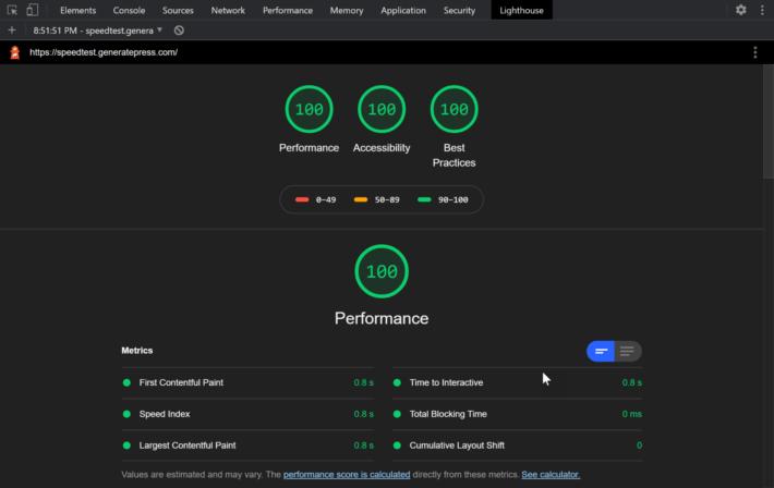 GeneratePress - Speed Test