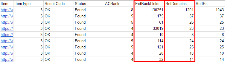Exported Backlinks Spreadsheet