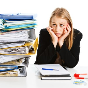 woman frustrated with files