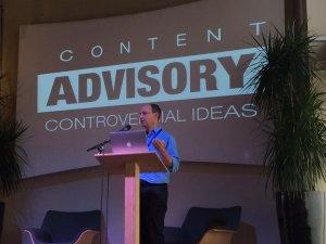 Photo of Alan Albert speaking at ProductCamp Seattle 2015