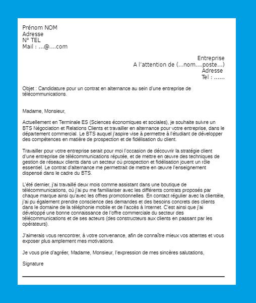 lettre de motivation apb bts commerce international