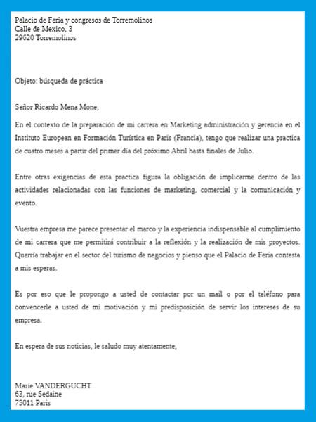photo modele de lettre administrative en espagnol lettre de motivation