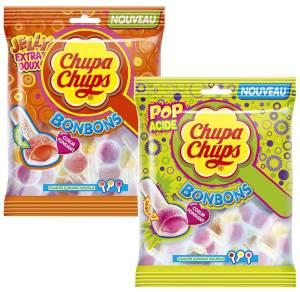 Chupa Chups étoffe la gamme de confiserie qu'il a lancé en 2012 avec deux nouveaux type de bonbons. Des sucettes Pop et Jelly au coeur fondant conditionnées en paquet de 220 g et recommandées au prix de 1,95 €.