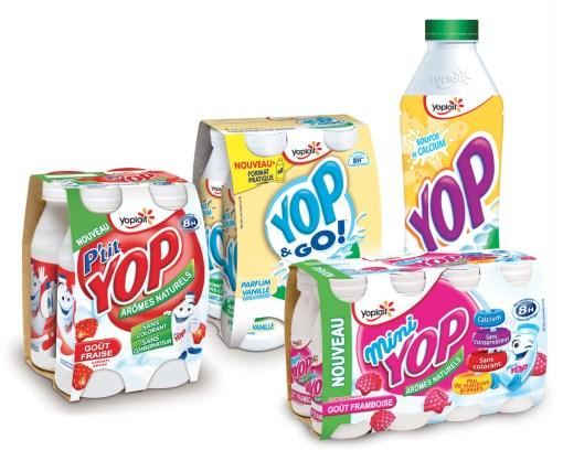 Yop est désormais disponible en 4 formats : min (100g), petit (180 g), Yop & Go (250g) et Classique (850 g).