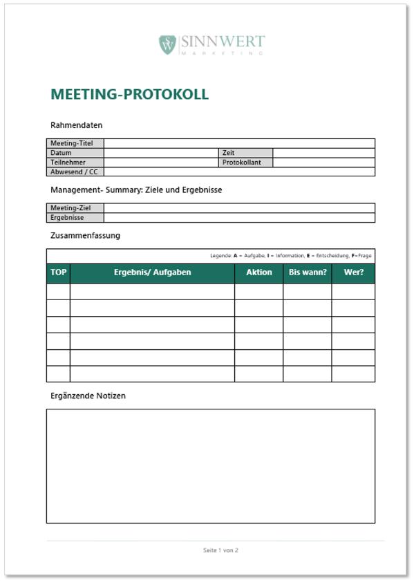 Beispiel für ein Meeting-Protokoll