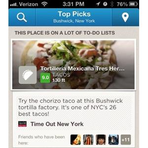 Foursquare añade puntuaciones de los lugares para competir directamente con Yelp