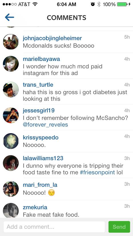 comentarios mcdonadls en instagram