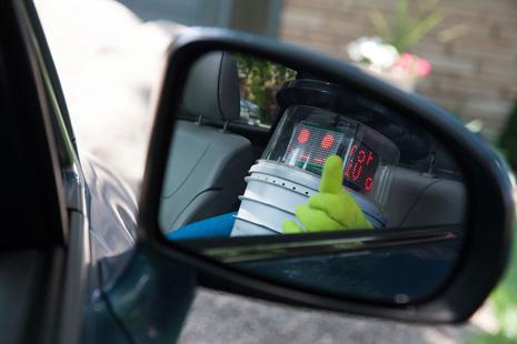 hitchBOT in a car