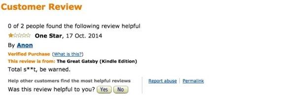 Screenshot Fiese Ein-Stern-Bewertungen bei Amazon und Co./ 14_Gatsby_Amazon