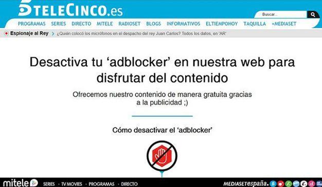 Telecinco prohibe el acceso a los usuarios con ad blockers